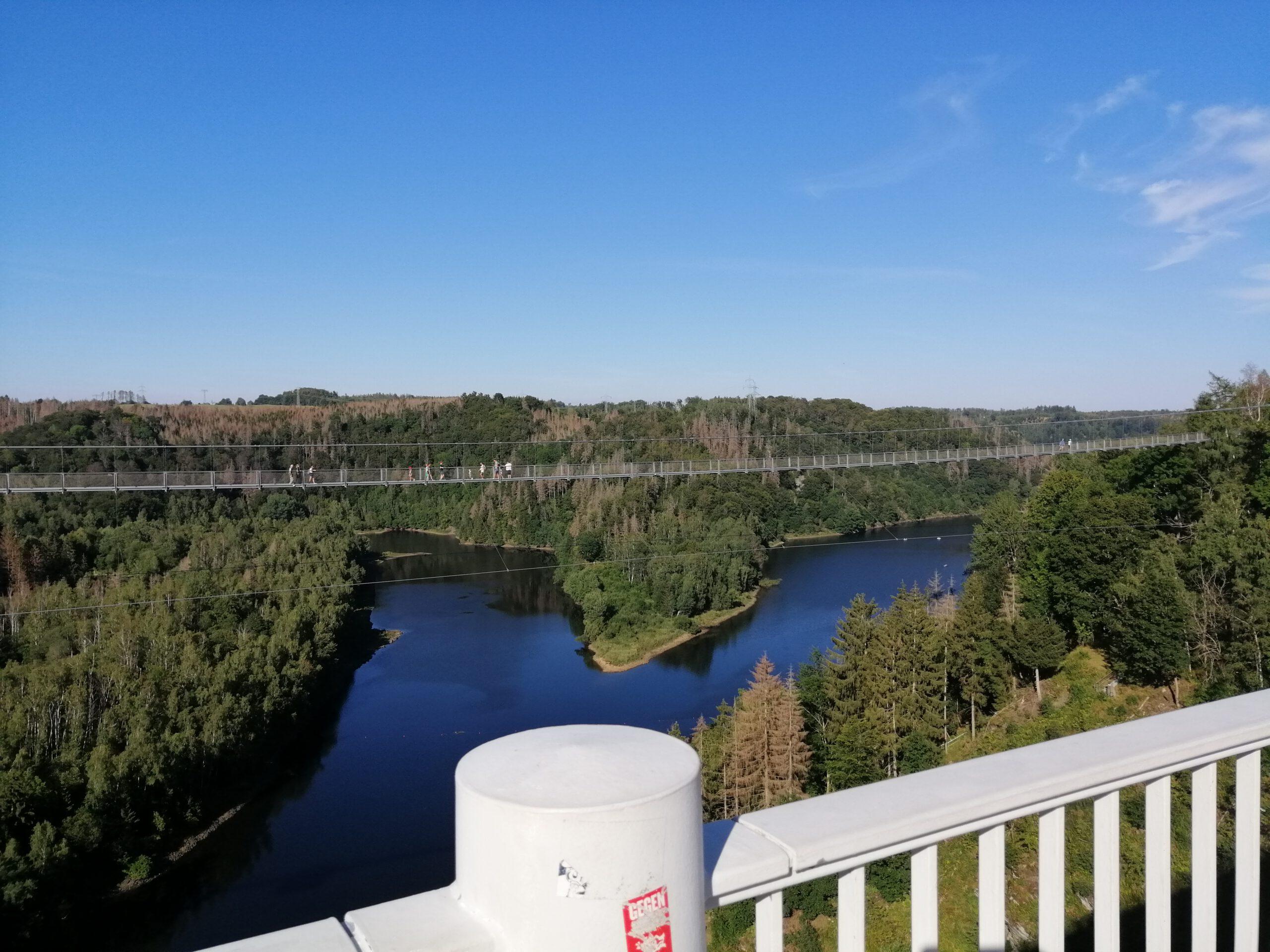 Blick von der Rappbodetalsperre auf die Hängebrücke