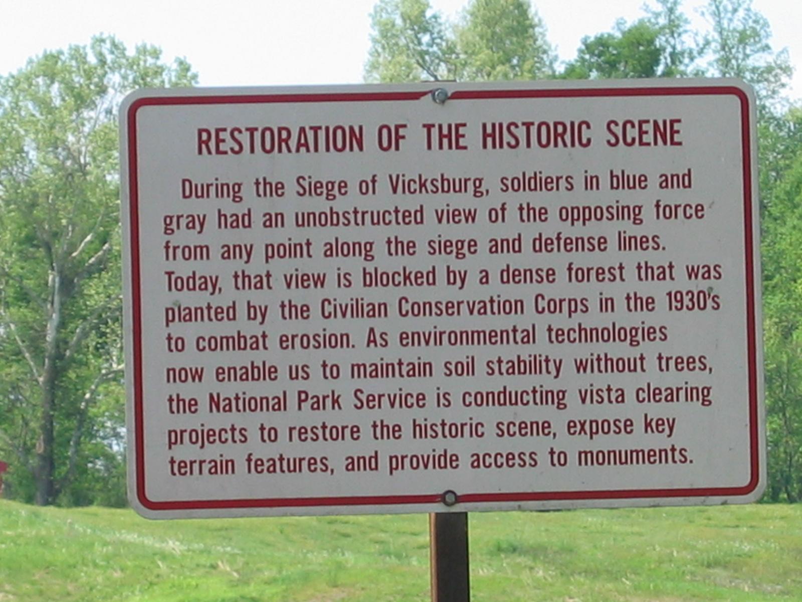 Um die Geschichte besser sichtbar zu machen, bemüht man sich, die Landschaft wieder in den Zustand während des Bürgerkriegs zu versetzen